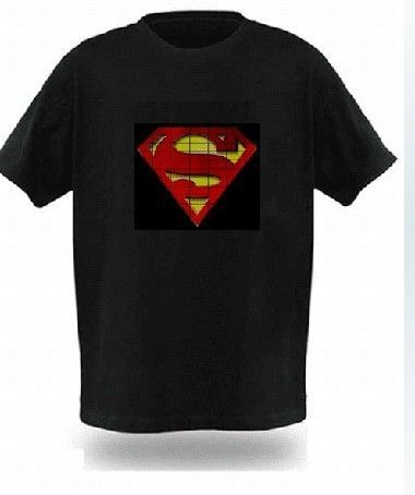 SOUND ACTIVATED super man shape LED flash T SHIRT FM124